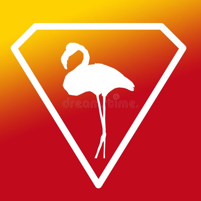 Fågelflamingo Logo Banner Image på gul orange röd lutning stock illustrationer