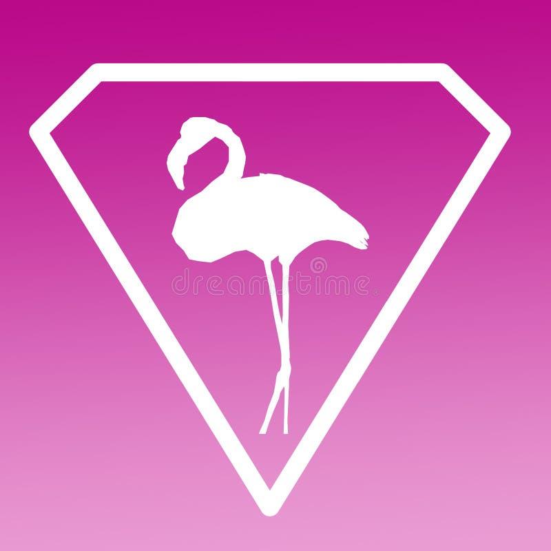 Fågelflamingo Logo Banner Image Purple Gradient stock illustrationer