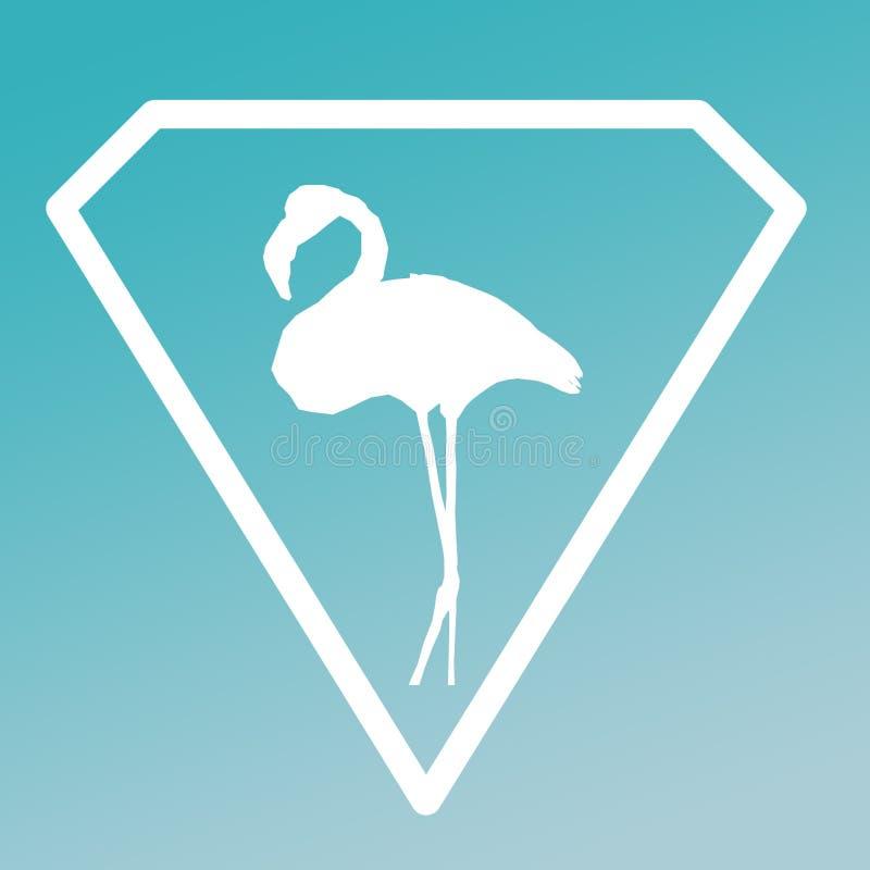 Fågelflamingo Logo Banner Image Turquoise Gradient stock illustrationer