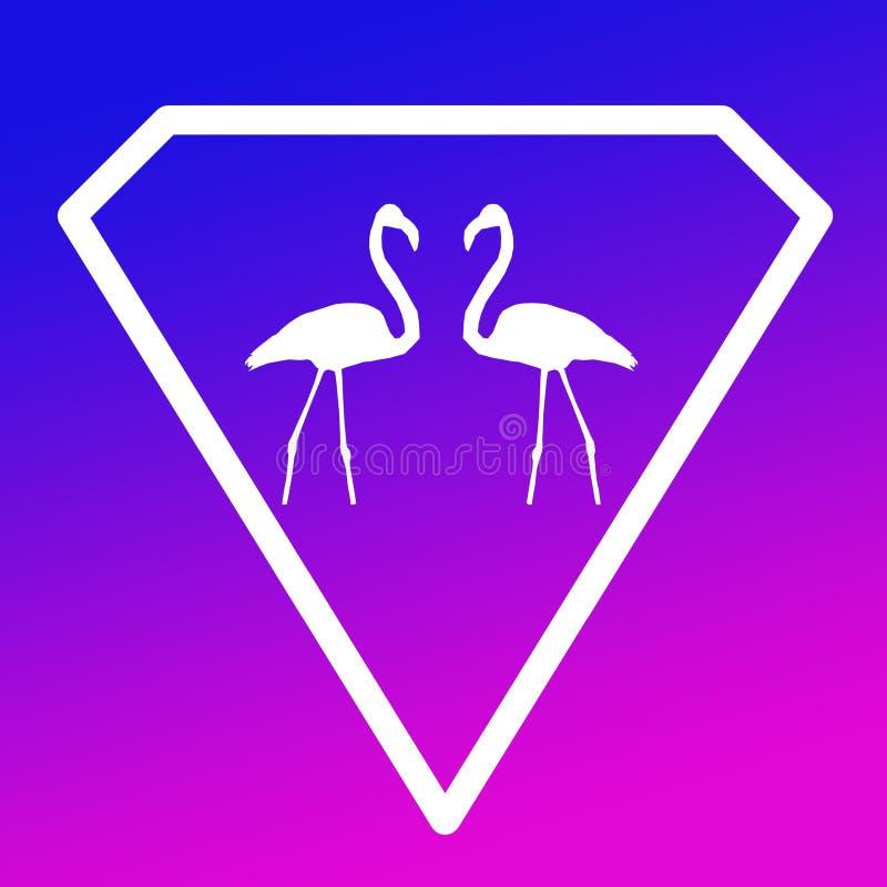 Fågelflamingopar Logo Banner Image på blå purpurfärgad lutningbakgrund vektor illustrationer