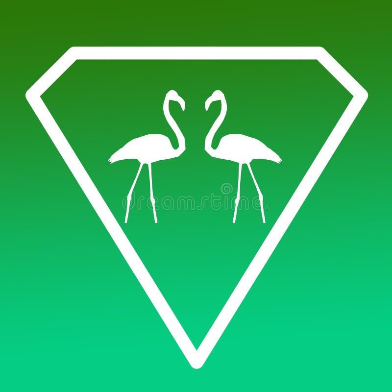 Fågelflamingopar Logo Banner Image på grön lutningbakgrund stock illustrationer