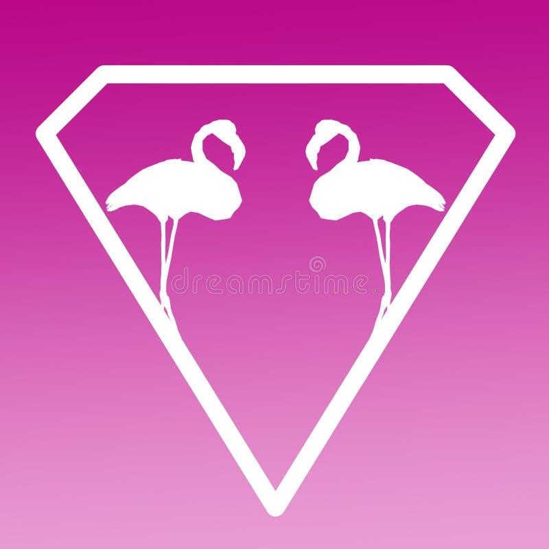 Fågelflamingopar Logo Banner Image på purpurfärgad rosa lutningbakgrund royaltyfri illustrationer