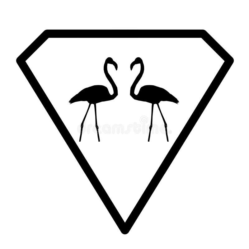 Fågelflamingopar Logo Banner Image på vit bakgrund royaltyfri illustrationer