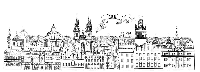1 fågelflyg s Horisont för Prague gammal stadgränsmärken bakgrund mer mitt portföljlopp royaltyfri illustrationer