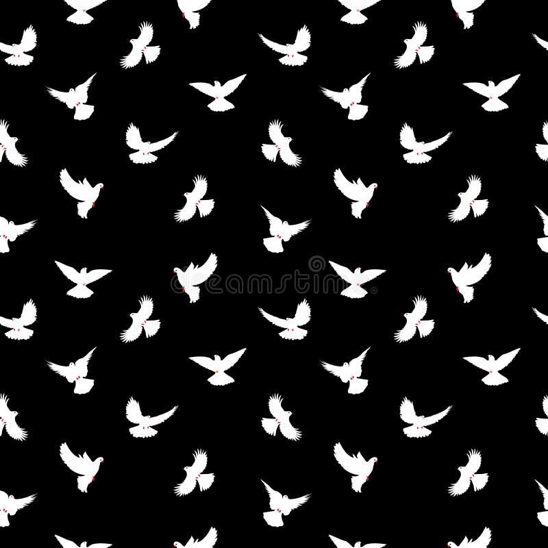Fågelkonturer - flyga den sömlösa modellen Duva med en röd näbb och ben stock illustrationer