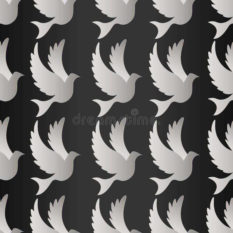 Fågelkonturer - flyga den sömlösa modellen Duva med modellvektorn royaltyfri illustrationer