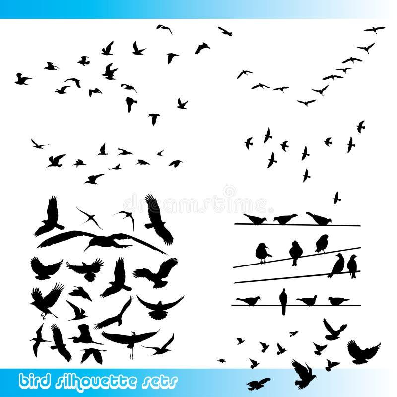 Fågelkonturuppsättning royaltyfri illustrationer