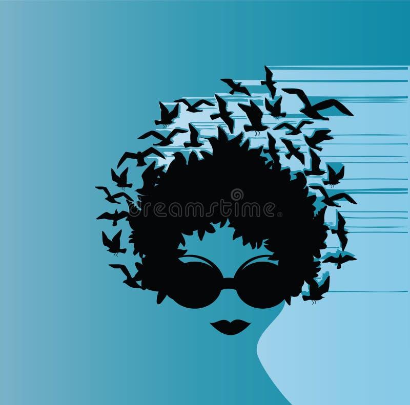 fågelkvinnlig vektor illustrationer