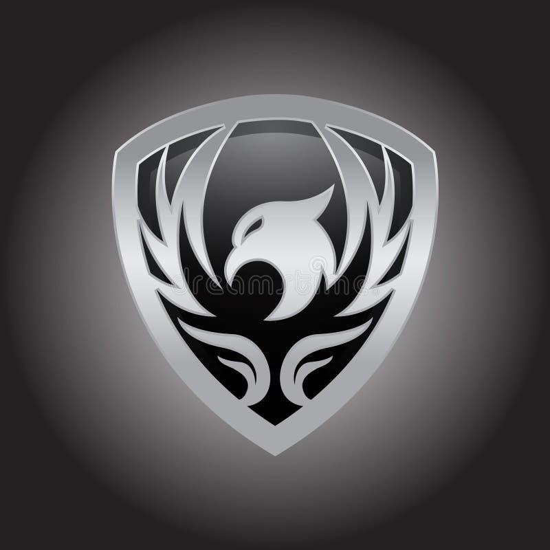 Fågellogodesign, phoenix logo, falklogo, örnlogodesign, cirkelbegreppsmall, vektorsymboler stock illustrationer