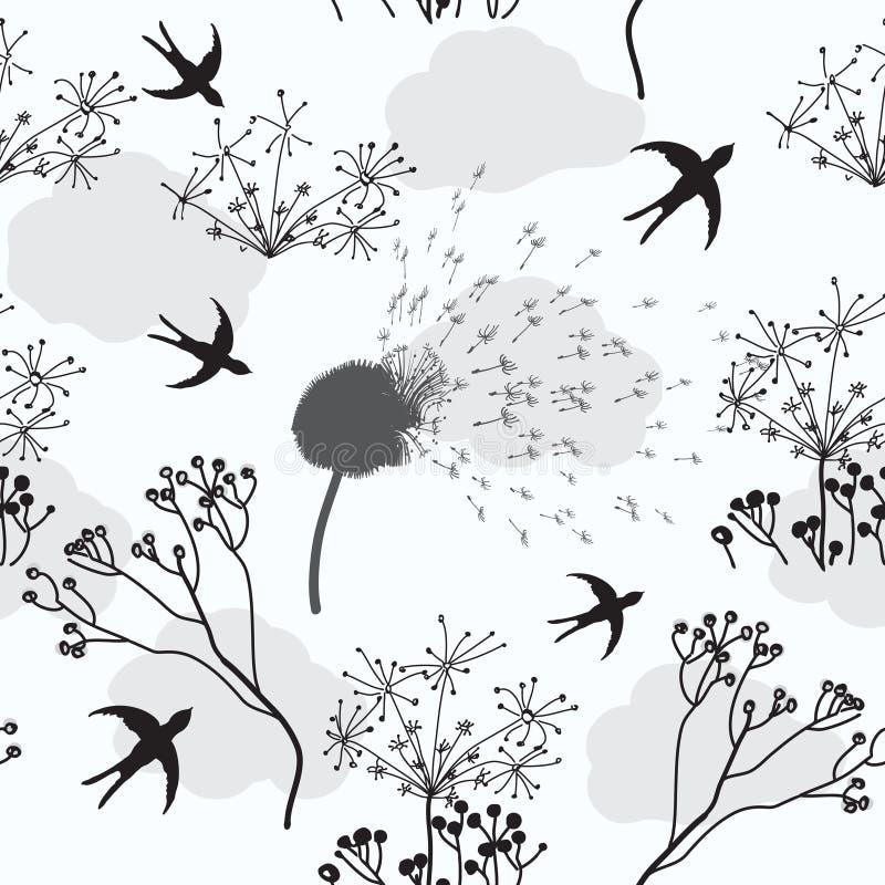 fågelmaskrosen blommar den seamless modellen royaltyfri illustrationer