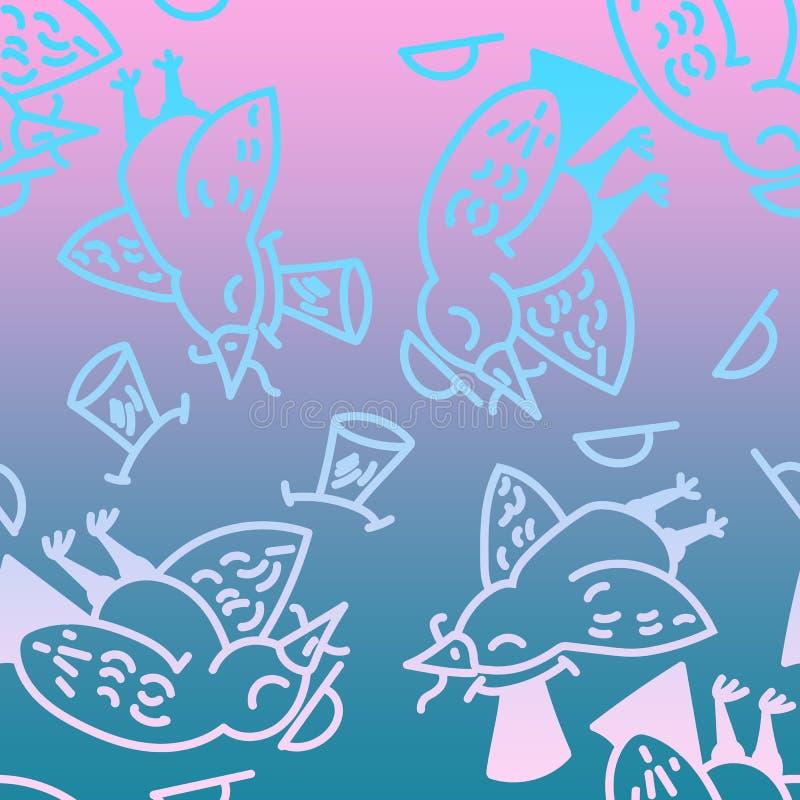 Fågelmodell Samling av gullig hand drog fåglar royaltyfri illustrationer