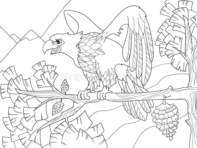 Fågeln av rovet är en örn på en trädfilial Falk på julgranen Färgläggningbarn vektor illustrationer