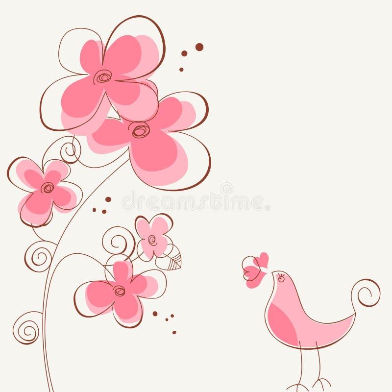 fågeln blommar kärlekshistoria stock illustrationer