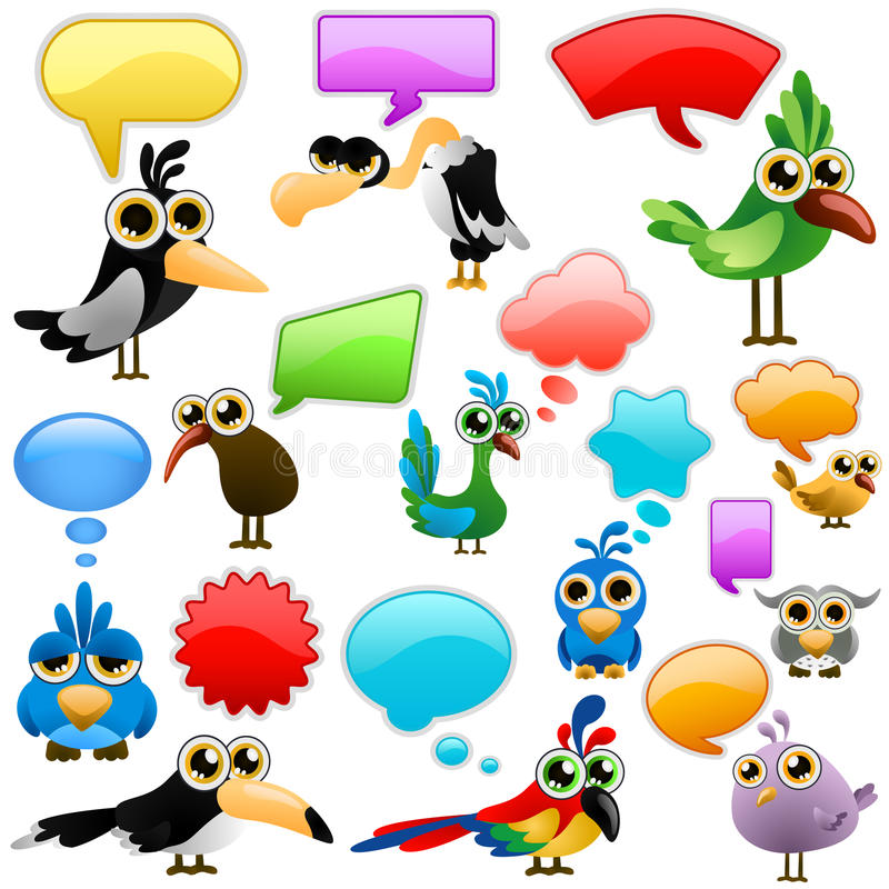 fågeln bubbles tecknad film stock illustrationer