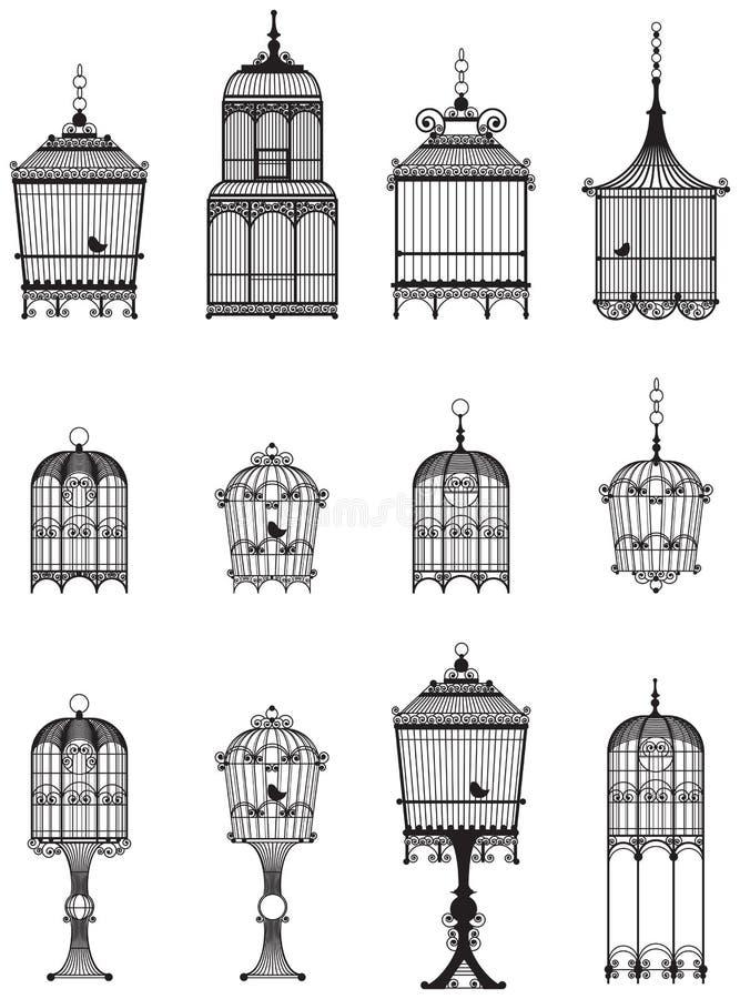 fågeln cages tappning stock illustrationer