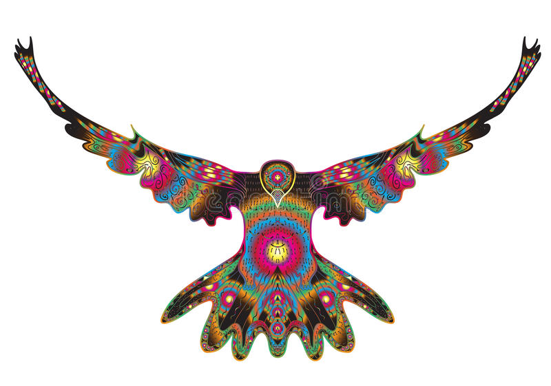 Fågeln dök flyget, örnklottret, handteckningen, klotter utformar Duva i zentanglestil också vektor för coreldrawillustration royaltyfri illustrationer