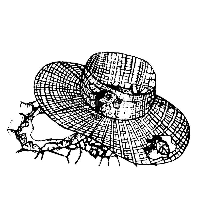 Fågeln dolde i en hand för sugrörhatt som drogs i tappningstilvektor royaltyfri illustrationer