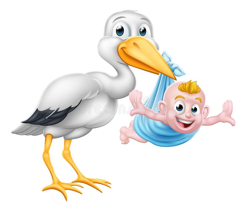 Fågeln för myten för storktecknad filmhavandeskap med nytt behandla som ett barn royaltyfri illustrationer