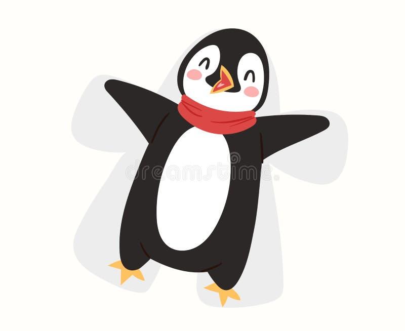 Fågeln för tecknade filmen för teckenet för julpingvinvektorn firar den gulliga illustrationen för leendet för framsidan för ping stock illustrationer