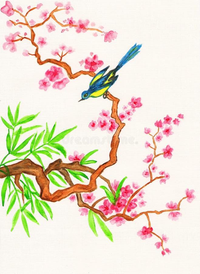 Fågeln förgrena sig på med rosa blommor som målar royaltyfri illustrationer