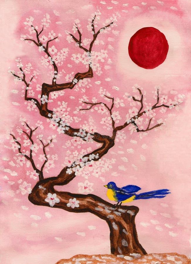 Fågeln förgrena sig på med vitblommor som målar vektor illustrationer