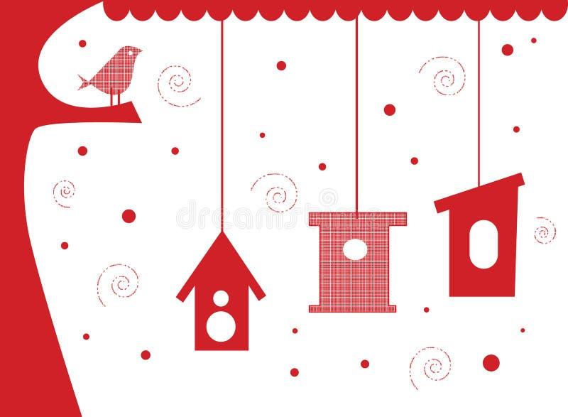 fågeln houses treen stock illustrationer