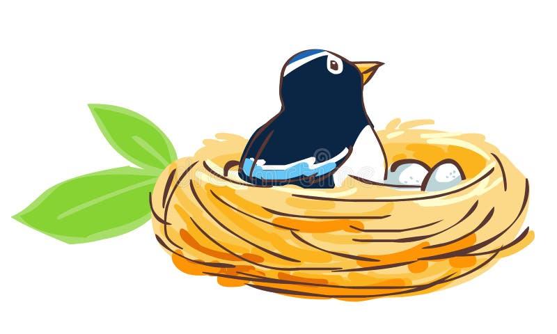 Fågeln kläcker hennes ägg i rede royaltyfri illustrationer