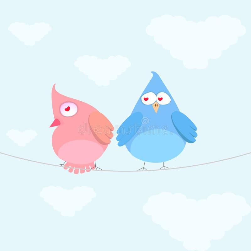 fågelpar royaltyfri illustrationer