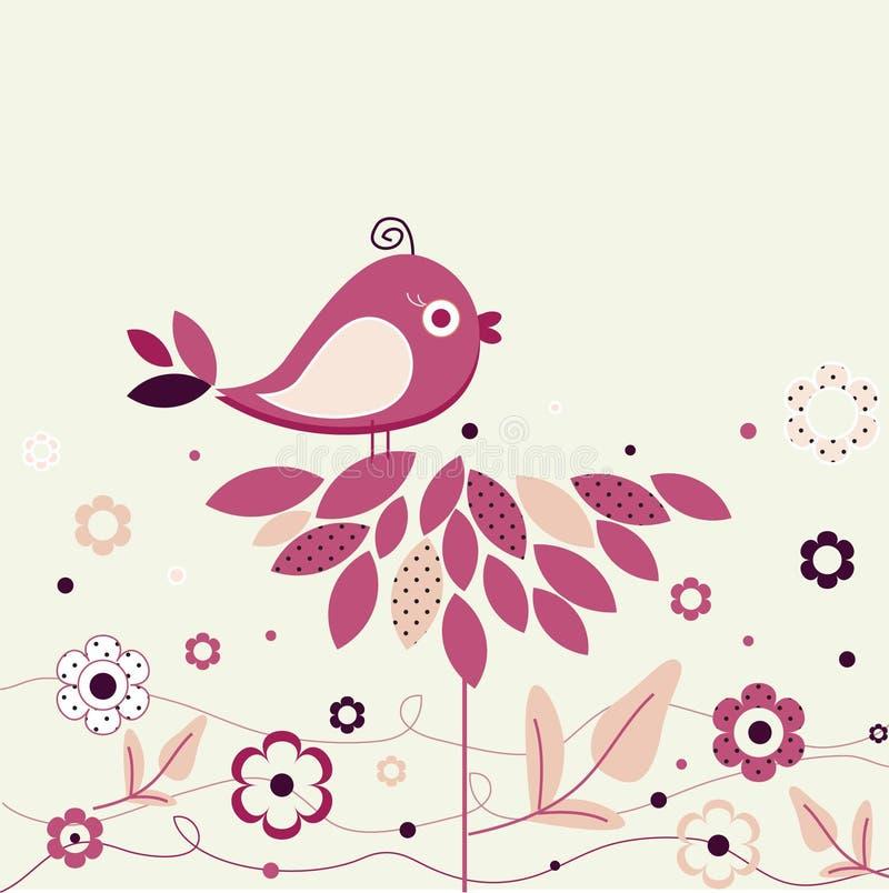 fågelpricken blommar polka royaltyfri illustrationer