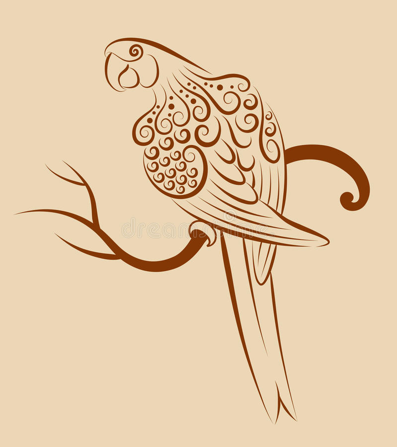 Fågelprydnad 04 (papegojan) royaltyfri illustrationer