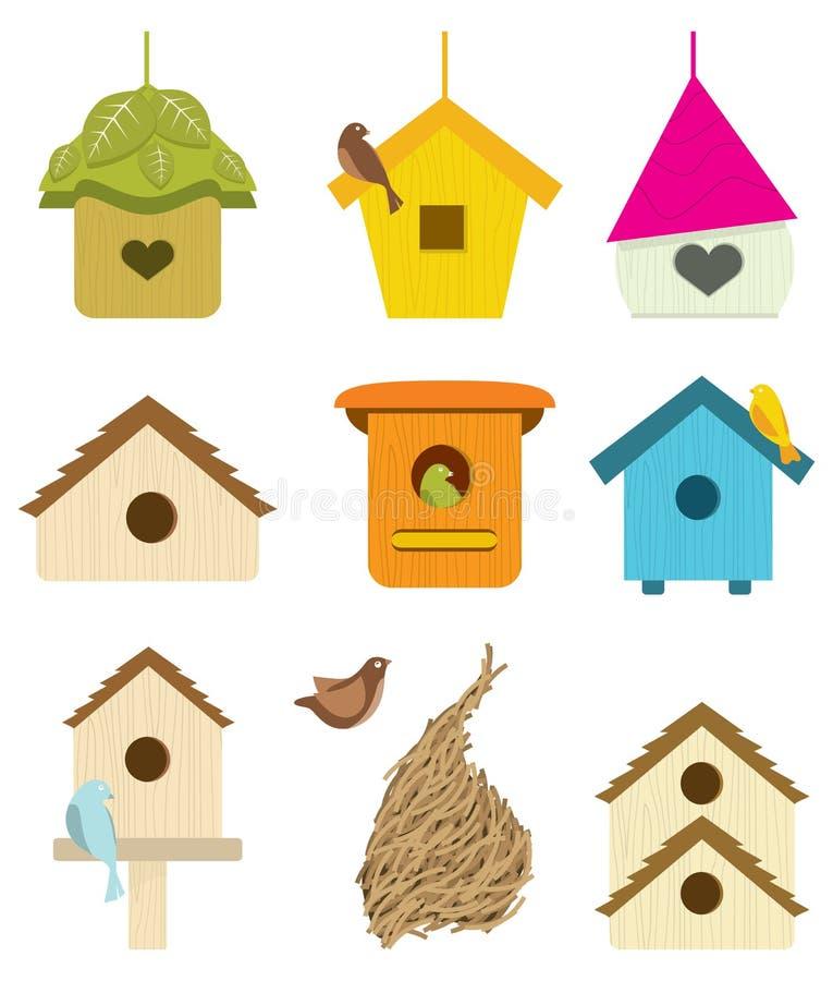 fågelrede stock illustrationer