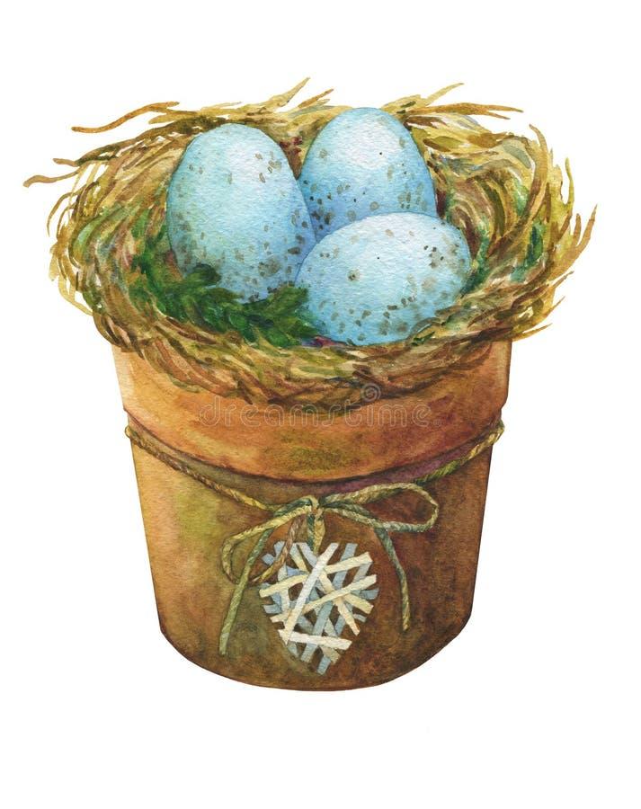 Fågelrede med blåa ägg i en blomkruka med en dekorativ hjärta, hemdekor för påsk stock illustrationer