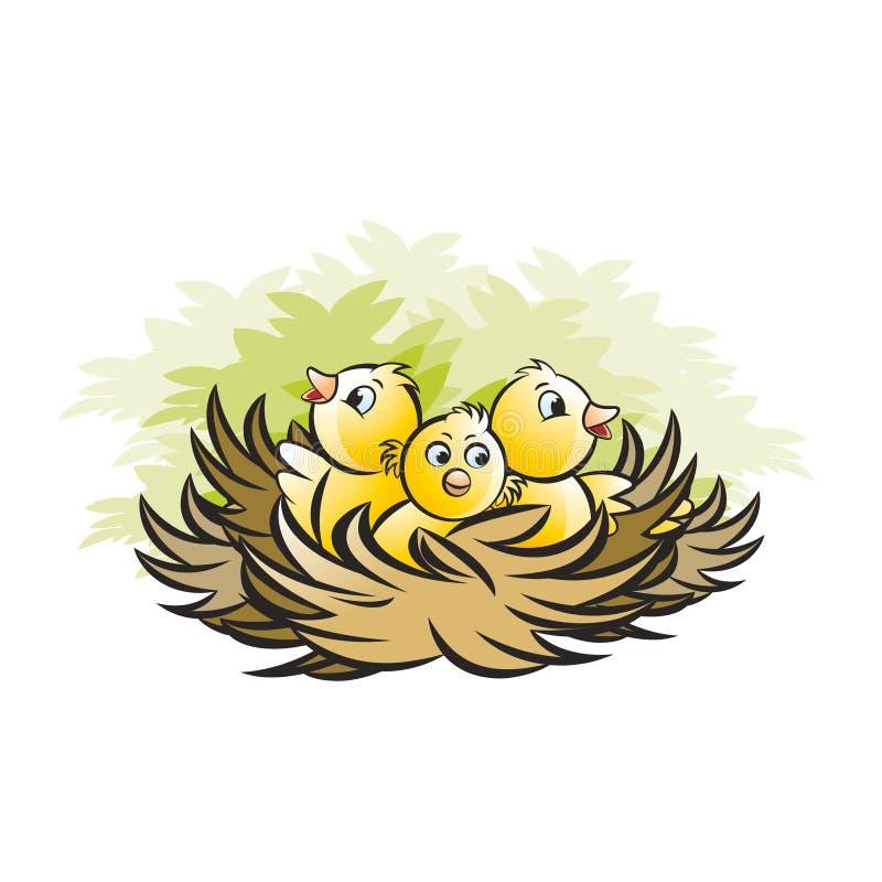 Fågelredet med tre behandla som ett barn fåglar stock illustrationer