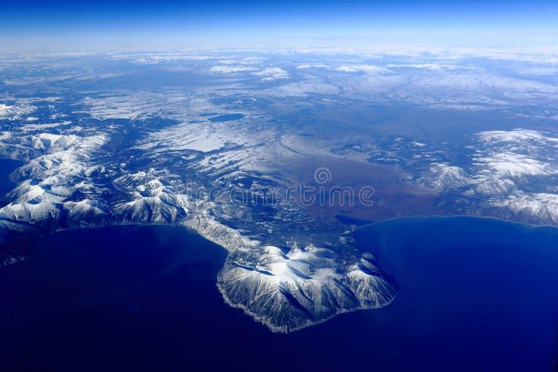 Fågels sikt för öga av den Kamchatka halvön royaltyfri bild