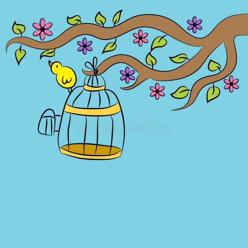 Fågelsammanträde på bur vektor illustrationer