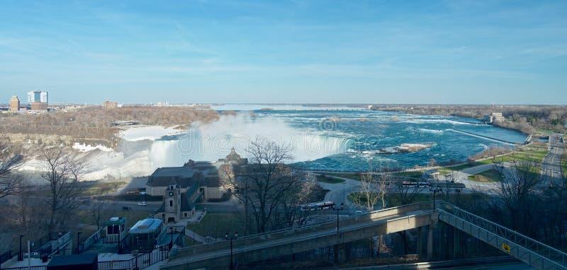 Fågelsikt av det berömda Niagaraet Falls från den kanadensiska sidan fotografering för bildbyråer