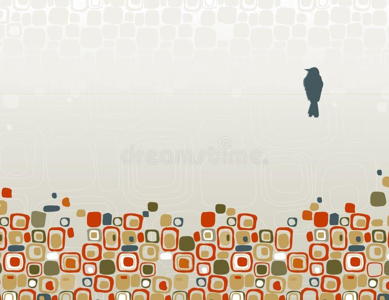 fågelsilhouettetråd royaltyfri illustrationer
