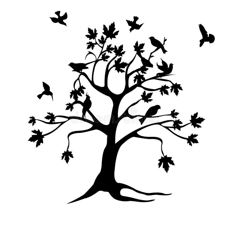 fågelsilhouettetree stock illustrationer
