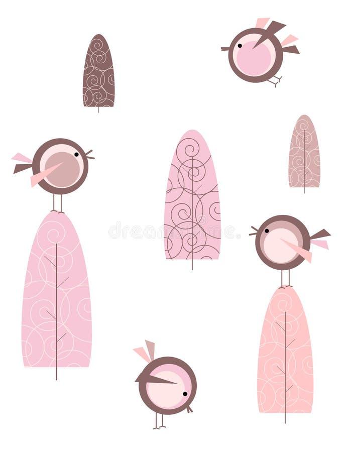 fågelskog royaltyfri illustrationer