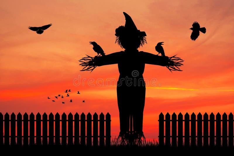 Fågelskrämmakontur på solnedgången royaltyfri illustrationer