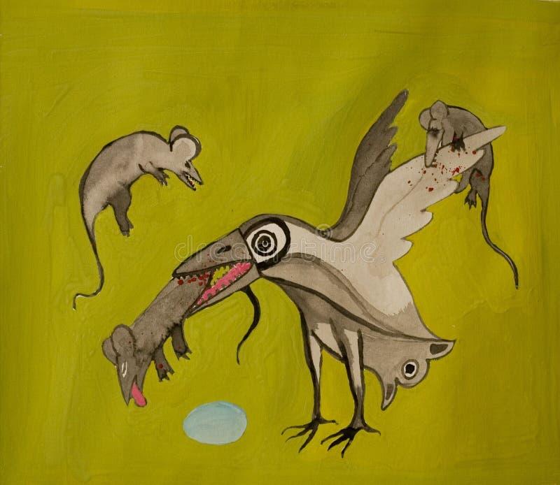 fågelslagsmål royaltyfri illustrationer