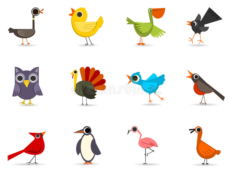 fågelsymbolsset royaltyfri illustrationer