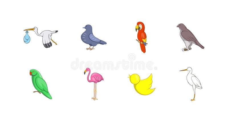 Fågelsymbolsuppsättning, tecknad filmstil vektor illustrationer