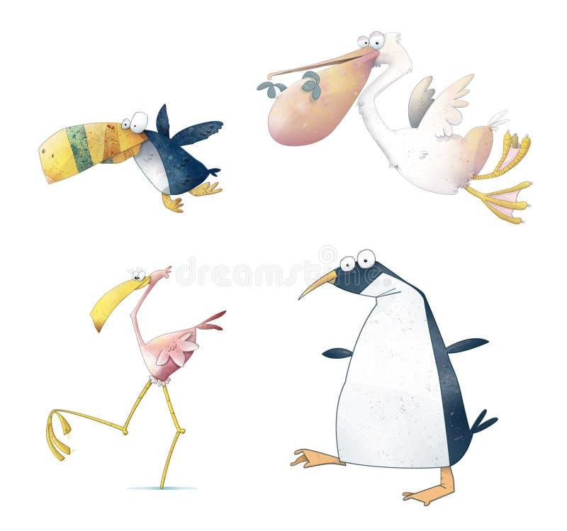fågeltecknad film royaltyfri illustrationer