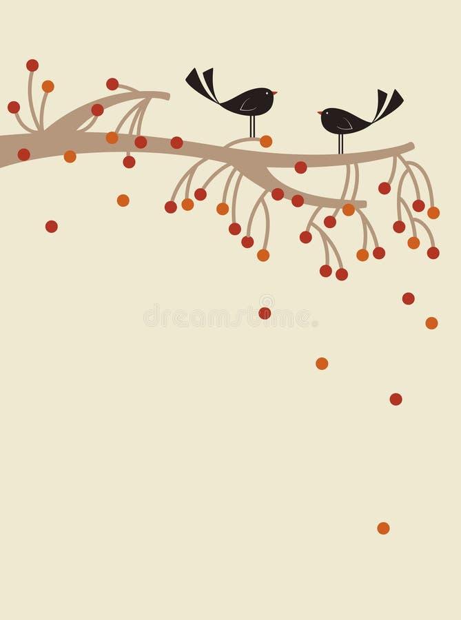 fågeltreevektor royaltyfri illustrationer