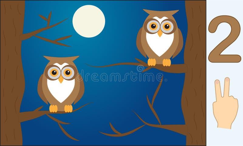 Fågelugglor Nummer 2 två Lära att räkna, matematik vektor illustrationer