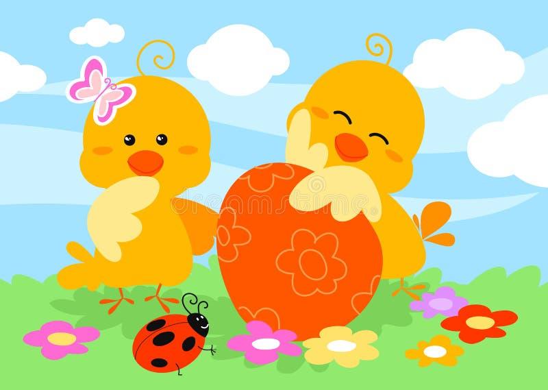 fågelungar easter två stock illustrationer