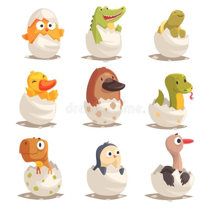 Fågelungar och reptilar kläcker från ägg ställde in, ofödda djurvektorillustrationer royaltyfri illustrationer