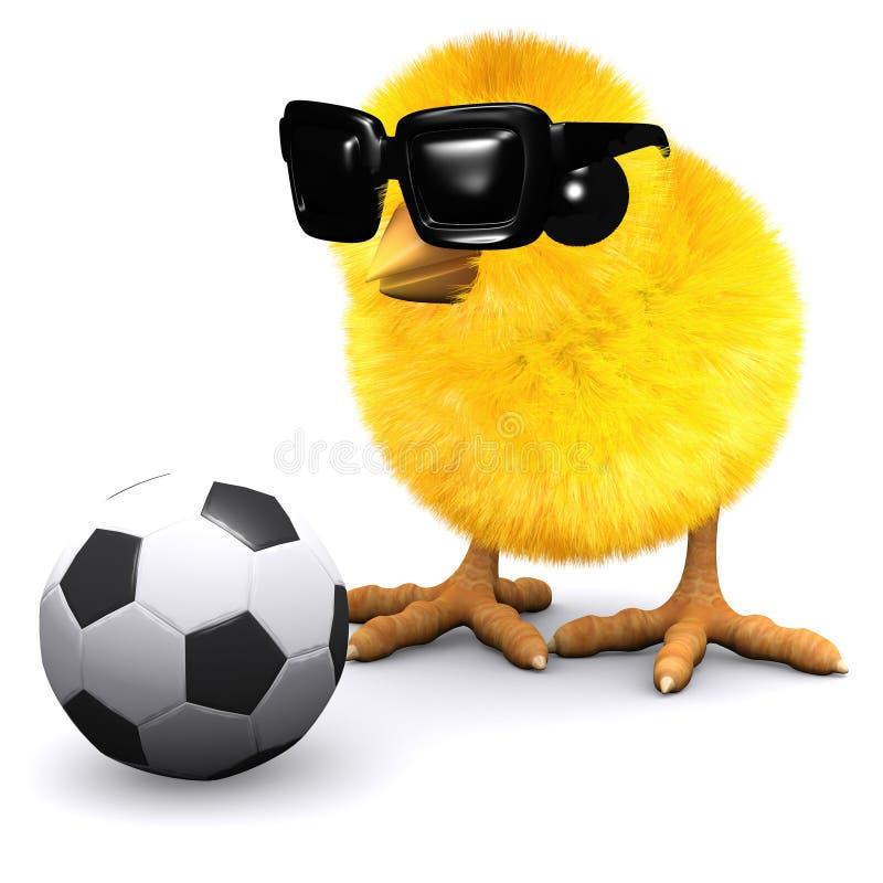 fågelunge för fotboll 3d i solglasögon stock illustrationer