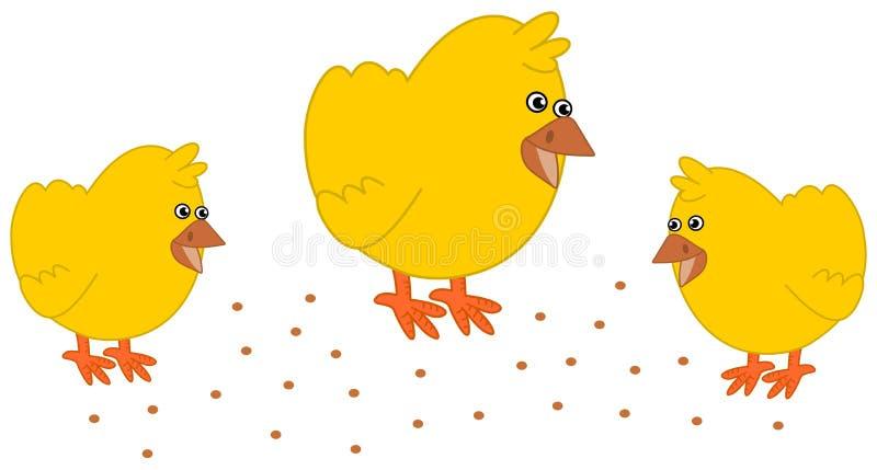 Fågelunge, i att picka för gårdsplan stock illustrationer